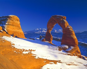 One of the most popular features of Arches National Park is Delicate Arch, here shown after a fresh snowfall. This photo was made by David L. Brown using a 4×5-inch Linhof view camera and Fuji Velvia film. David will be Artist in Residence at A.C.T. Campground, available to lead area photographic outings and provide instruction on how to capture outstanding landscape images.