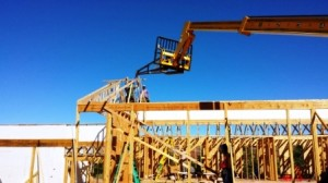 roof rafters with fork lift