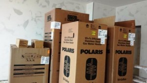 appliances and water heaters in boxes
